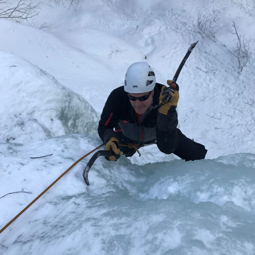 Ice climbing up Mt Washington NH with Burgeon Outdoors