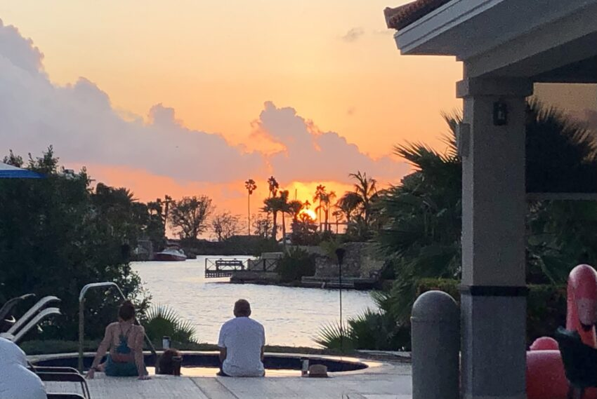A typically dramatic sunset at the Marriott Dive Resort pool on the island of Bonaire, Caribbean. Gail Clifford photos.