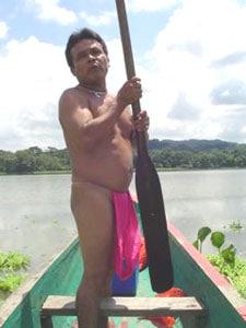 man canoe