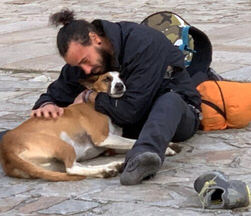 A pilgrim and his dog rest in front of the Cathedral of Santiago.