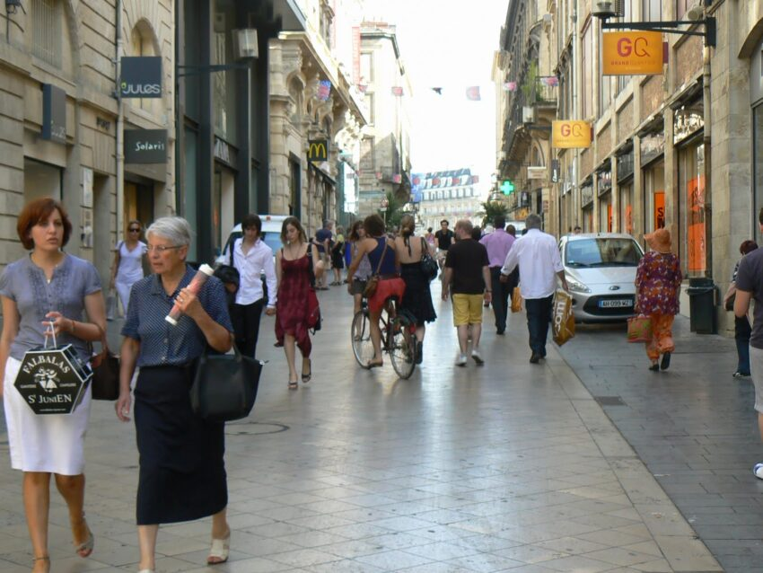 France's shops only offer sales twice a year, here is one of the shopping areas in downtown Bordeaux, the longest pedestrian street in France. Max Hartshorne photo.