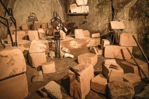 A collection of the stone houses the Ancient Greeks discovered in Naples Underground