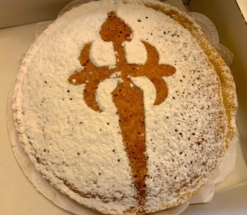 St. James cake or Tarta de Santiago is popular in Santiago bakeries and restaurants