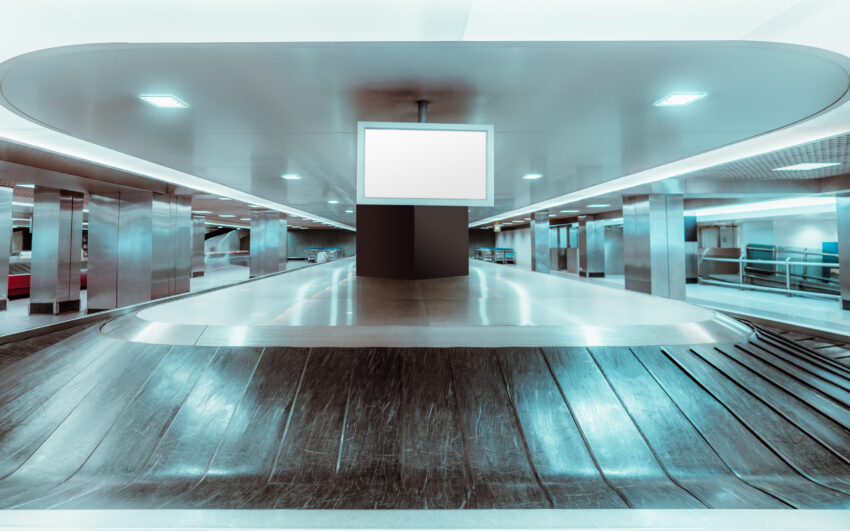 Grab My Bag Inc's vision of travelers at airport baggage claim in the future. Grab My Bag Photos.