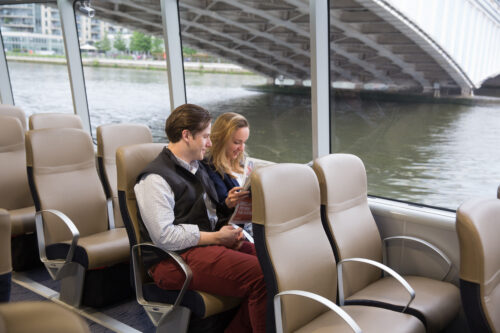 Enjoying their boat ride! Uber Boat by Thames Clipper Photos.