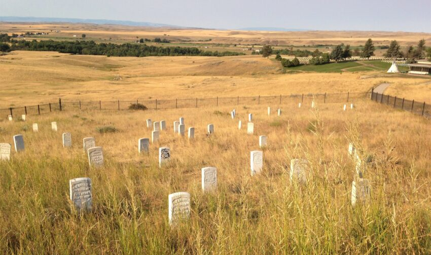 LITTLE BIG HORN. Last Stand Hill. Custer's grave is in the center with black ink, surrounded by some of his men who fought to the end with him. Other troops are scattered all over the battlefield in different places where they made a last stand, or tried to escape.