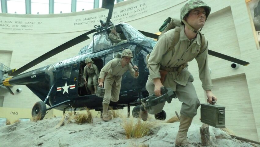 THE NATIONAL MUSEUM OF THE MARINE CORPS super-realistic diorama with an actual helicopter.