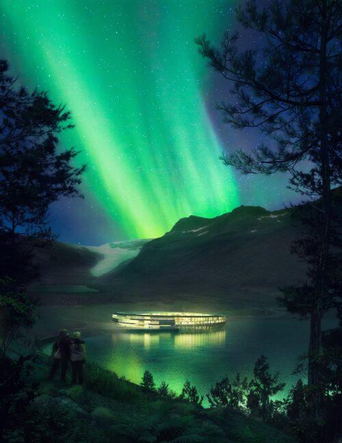 The Northern Lights, seen from Svart Hotel. Snohetta Plompmozes photo.