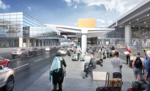 Terminal roadway. Salt Lake City International Airport photo.