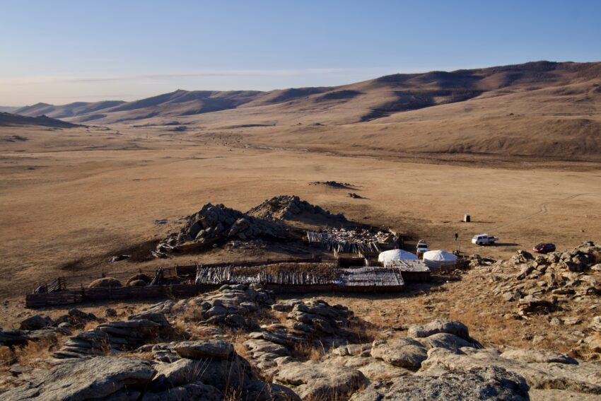 The camp in all its lonely glory. Note our host's brothers Prius that was able to navigate the terrain here ger.