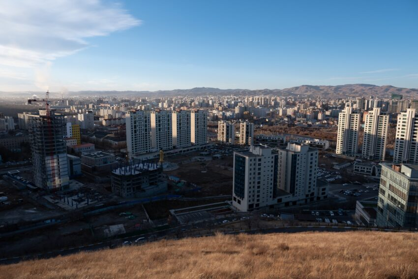 The growing sprawl of Ulaanbaatar from the top of Zaisan Hill. New construction is springing up all over the city thanks to mass urbanization.