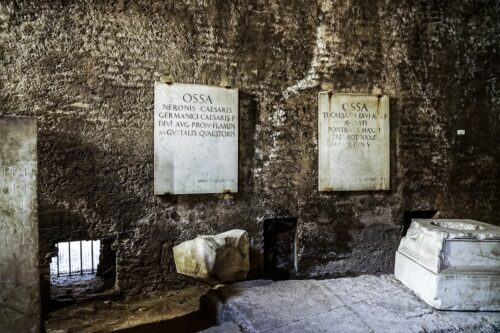 Many original signs remain on the original walls. Mausoleum of Augustus