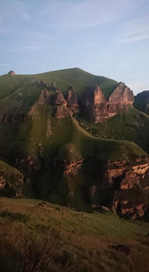jagged mountains in Drakensberg, South Africa.