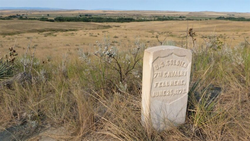 A lonely solitary grave at Little Big Horn marks the spot where an unknown soldier fell.