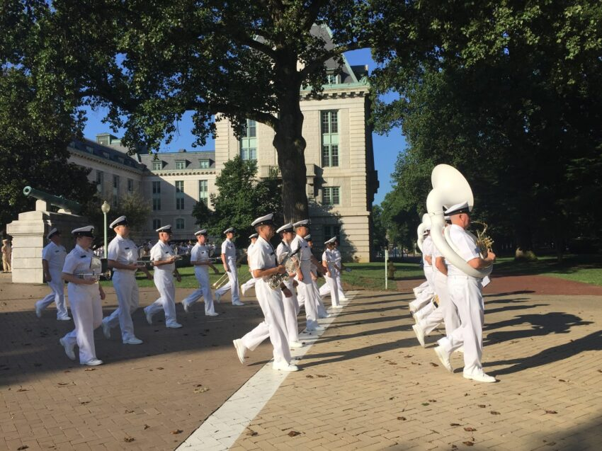 US NAVAL ACADEMY, ANAPOLIS. I was the only spectator as the students gathered for a flag raising ceremony and marched to breakfast.naval academy band