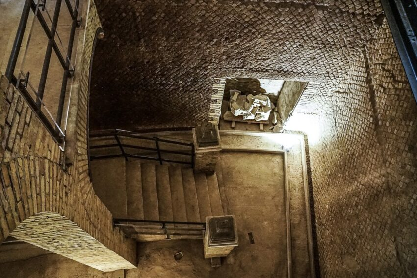 A modern stairway was built as part of the refurbishing of the Mausoleum of Augustus.