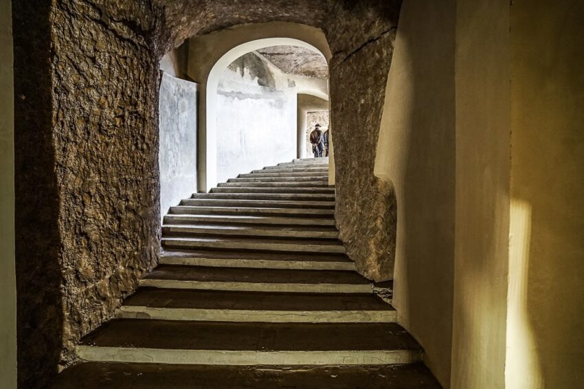 Another dramatic stairway in the ancient mausoleum of Augustus.