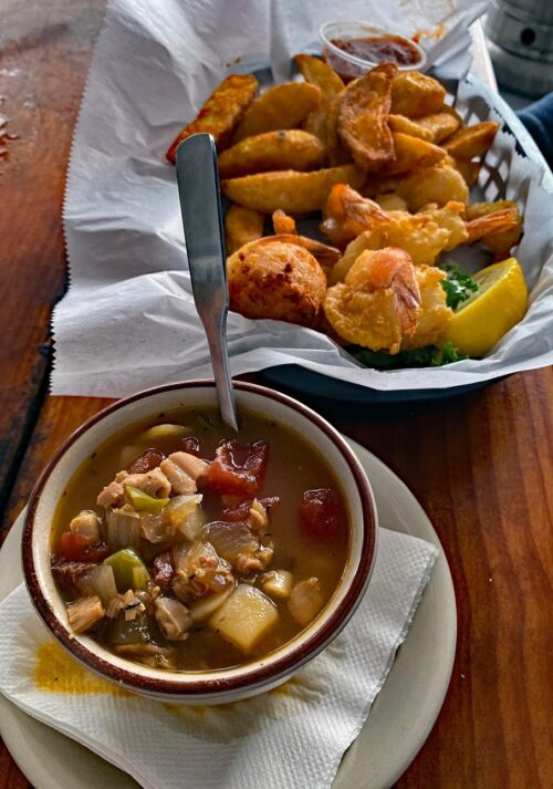Shrimp and chowder spiced with fiery datil pepper appear along with Menorcan-inspired dishes on the menu at Aunt Kate's on the River.
