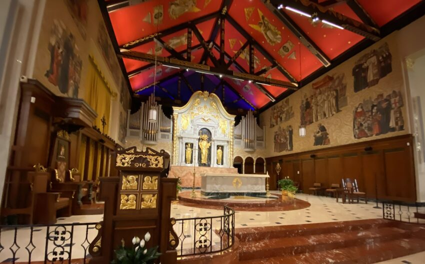 The Cathedral Basilica of St. Augustine is the oldest Roman Catholic parish in the U.S. The ceiling was painted red, the color of Spanish royalty, when the church celebrated its 400th birthday in 1965. Photo by Katherine Rodeghier