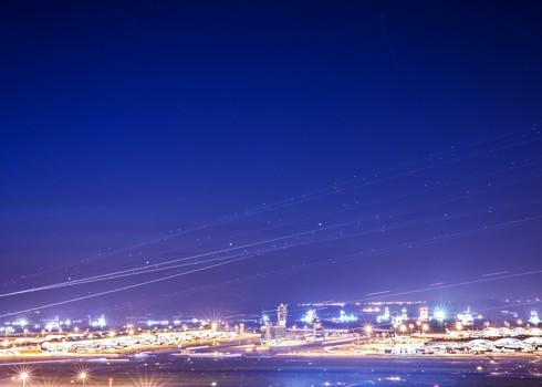Hong Kong International Airport at Night. Hong Kong International Airport Photos.