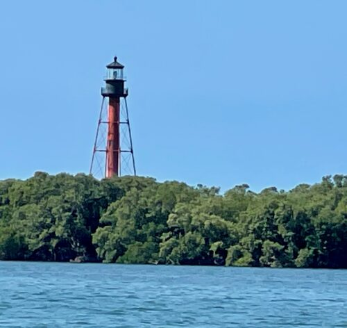 A defunct lighthouse dating back to 1887 on Anclote Key.