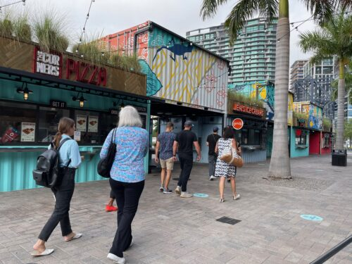 A food court made of shipping containers at Sparkman Wharf in downtown Tampa.