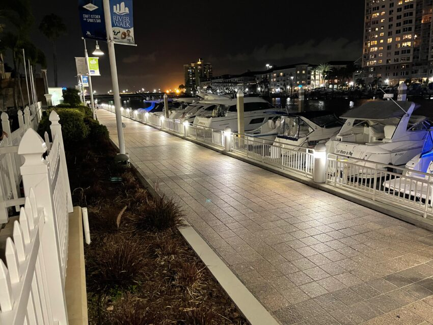 The Riverwalk is as popular at night as during the day.