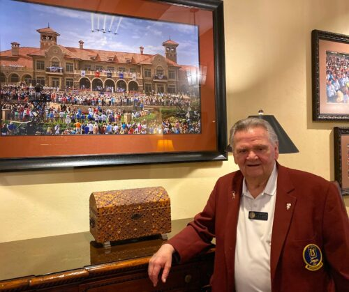 Jack Larson, one of the volunteer storytellers at TPC Sawgrass, gives guided tours of the memorabilia inside the clubhouse.
