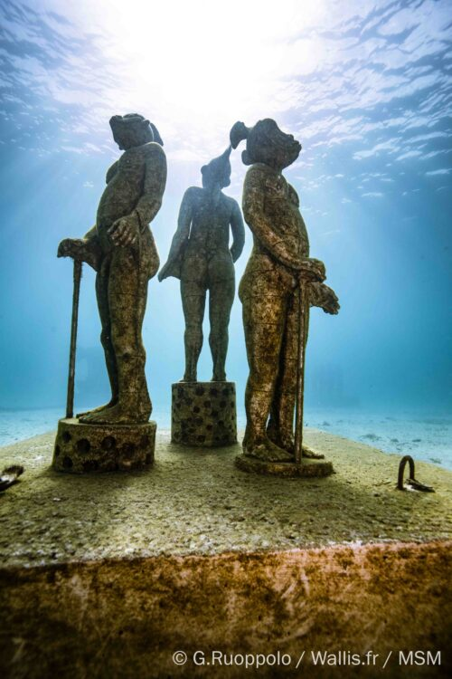 """""""Sea Monkeys"""" by Benoit de Souza at The Underwater Museum of Marseille. Guillaume Ruoppolo Photos."""