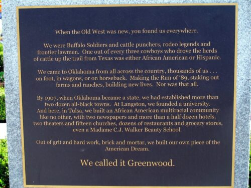 One of several Greenwood Rising signboards in John Hope Franklin Reconciliation Park Photo by Beth Reiber