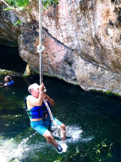 Rope Swing at Ixchel Grotto Xel Há
