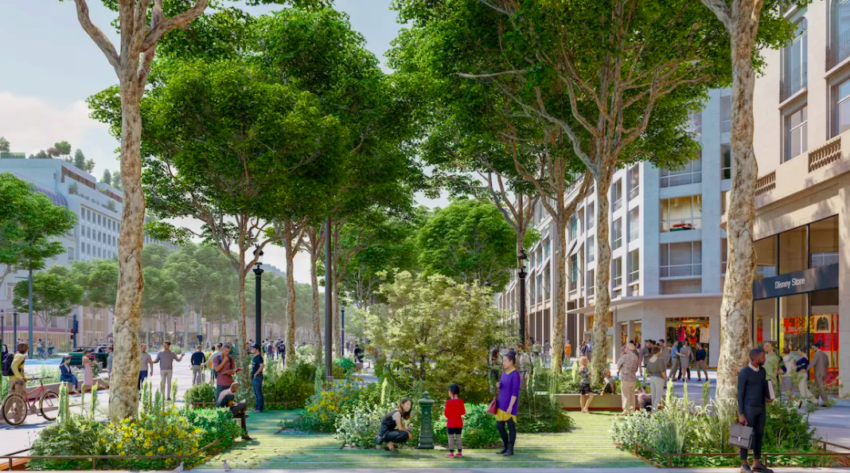 A rendered garden area in Champs-Elysees. PCA-Stream photo.