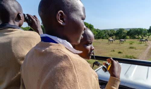 Taking local students on a game drive Rose Palmer
