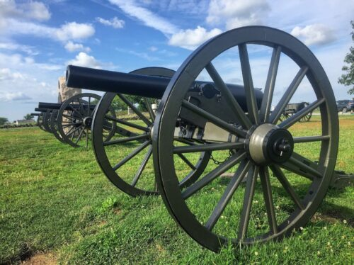 GETTYSBURG. The gun batteries of the Union line waiting at the end of Pickett's Charge.