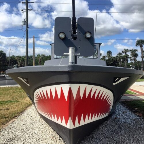 NATIONAL NAVY UDT-SEAL MUSEUM: A patrol boat used by Navy SEALs in Vietnam.