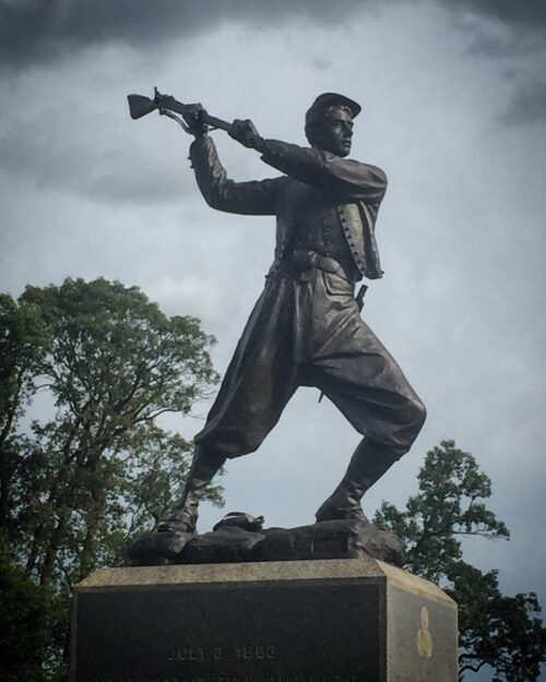 GETTYSBURG: A dramatic statue of a Union Zouave soldier engaging in the hand-to-hand fighting that ended Pickett's Charge.