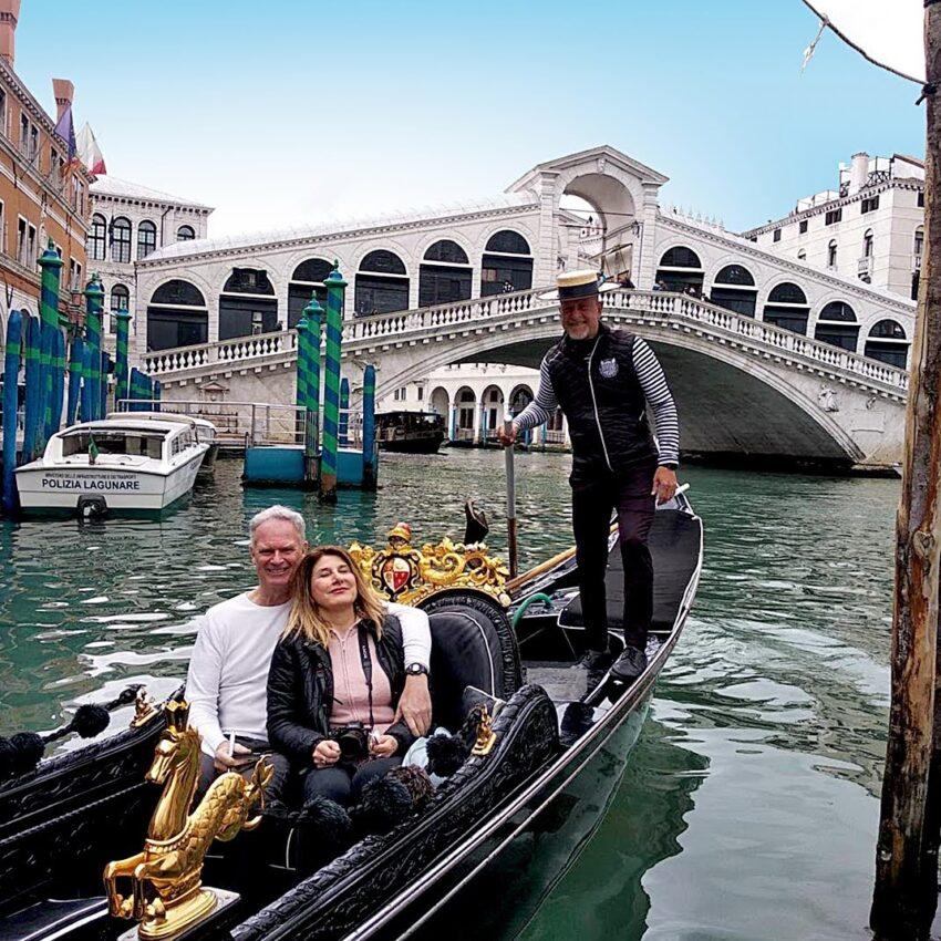 taking a gondola in venice