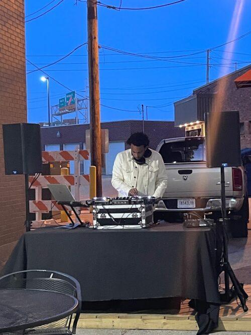 DJ in the alley outside Gordons Milkshake Bar