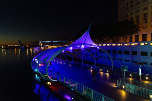 Tampa's Riverwalk is popular at night, too.