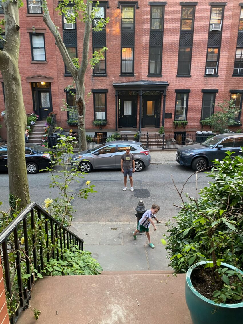 Playing stoop ball on Willow Place, Brooklyn Heights.