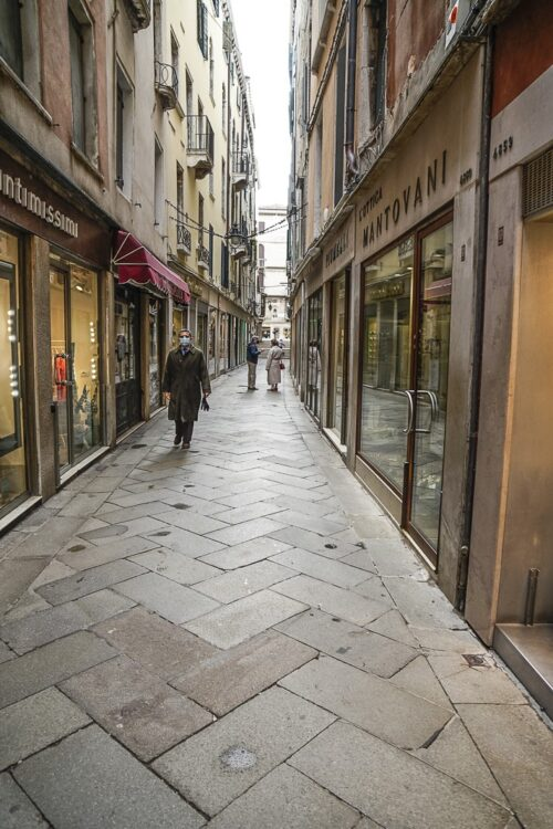 """An empty street not far from St. Mark's Square. These """"calli"""" are usually packed."""