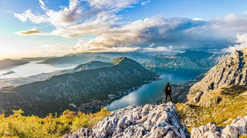 Panorama of the Bay of Kotor, Montenegro.