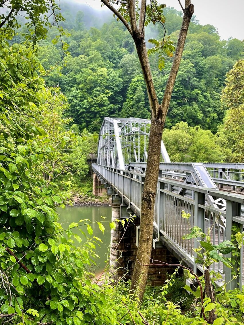 The Fayette Station Bridge was torn down after the new bridge opened in 1977, but by popular demand, it was rebuilt. Today, following the old road down and crossing the old bridge is a thrilling scenic drive.