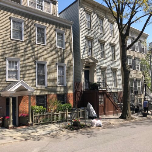 Clapboard framed houses in Brooklyn Heights.