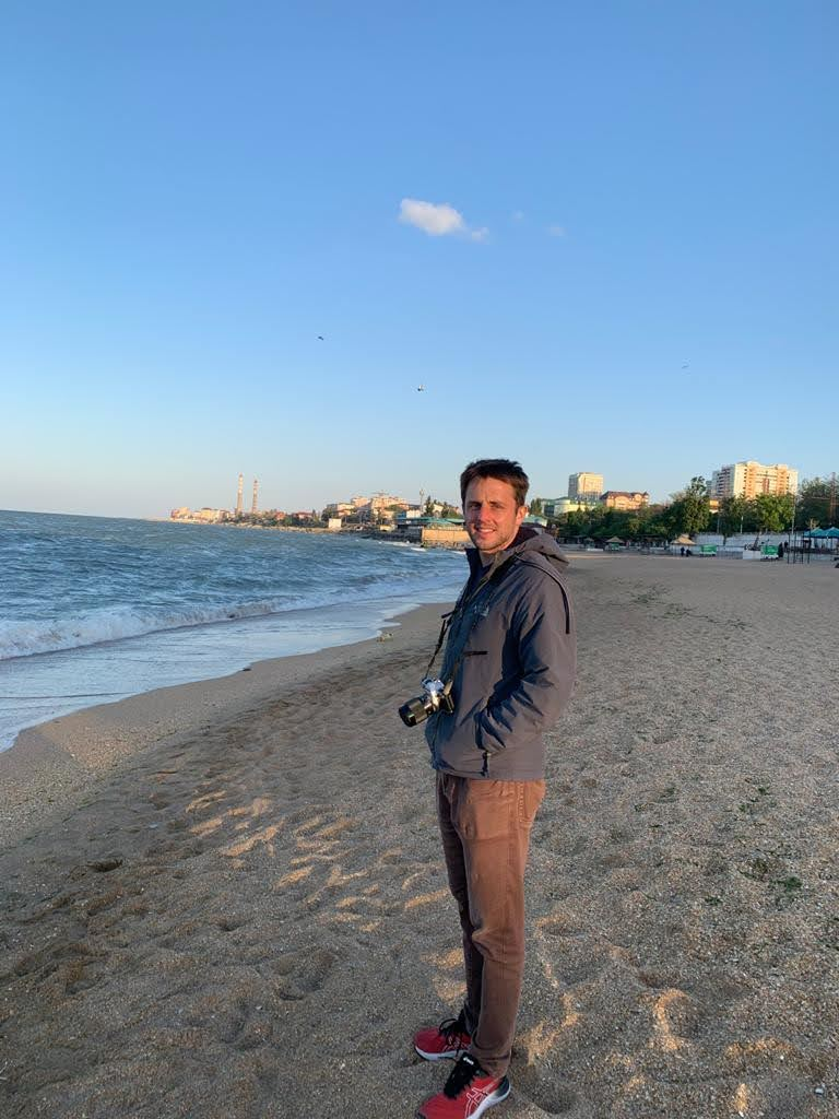 Author on the beach in Makhachkala, Dagestan.