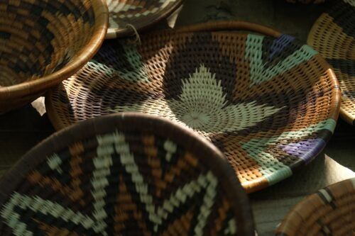 Local woven baskets on offer