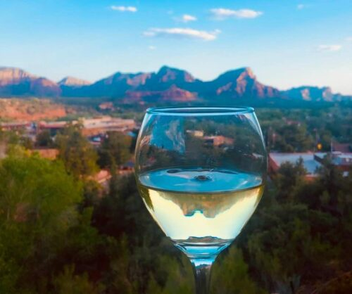 Red Rock Reflections while dining at Creekside American Bistro in Sedona Photo Credit Noreen Kompanik