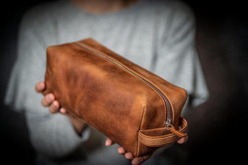 leather classic dopp kit travel toiletry bag crazy horse tan