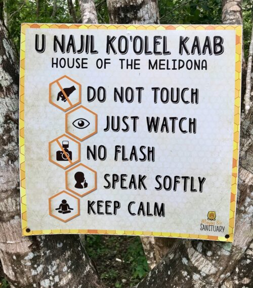 Rules of the house sign at the Mayan Bee Sanctuary