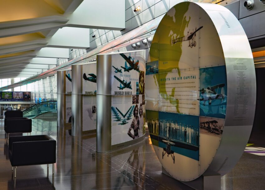 """witchata Exhibits extolling Wichita's status as """"Air Capital of the World"""" can be found inside the terminal of Dwight D. Eisenhower National Airport."""